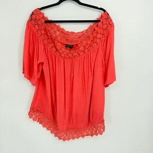 City Chic Coral Grace Off The Shoulder Crochet Top